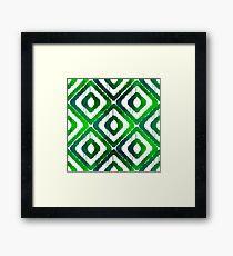 Emerald Green Ikat Pattern Framed Print