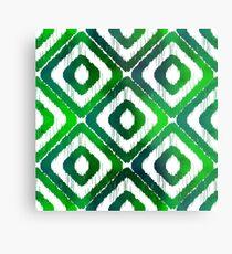 Emerald Green Ikat Pattern Metal Print