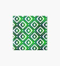 Emerald Green Ikat Pattern Art Board Print