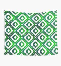 Emerald Green Ikat Pattern Wall Tapestry