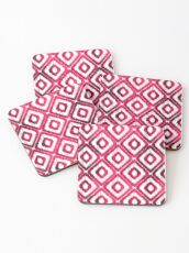 Ruby Red Ikat Pattern Coasters