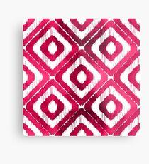 Ruby Red Ikat Pattern Metal Print