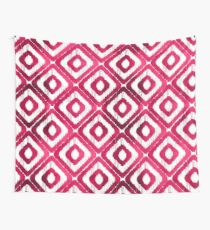 Ruby Red Ikat Pattern Wall Tapestry