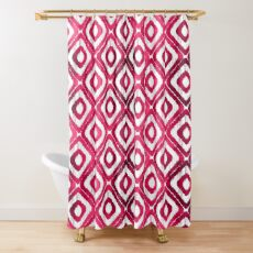 Ruby Red Ikat Pattern Shower Curtain