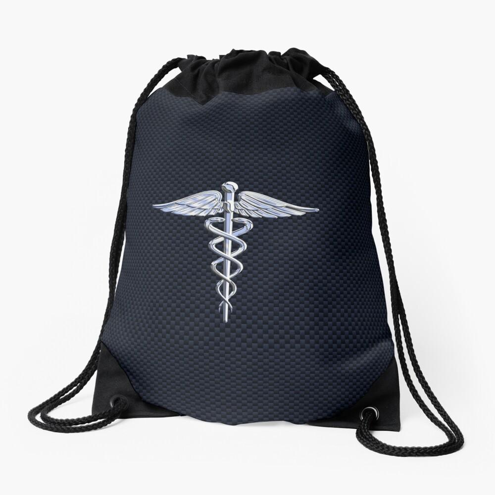 Chrome like Medical Caduceus Snakes Drawstring Bag