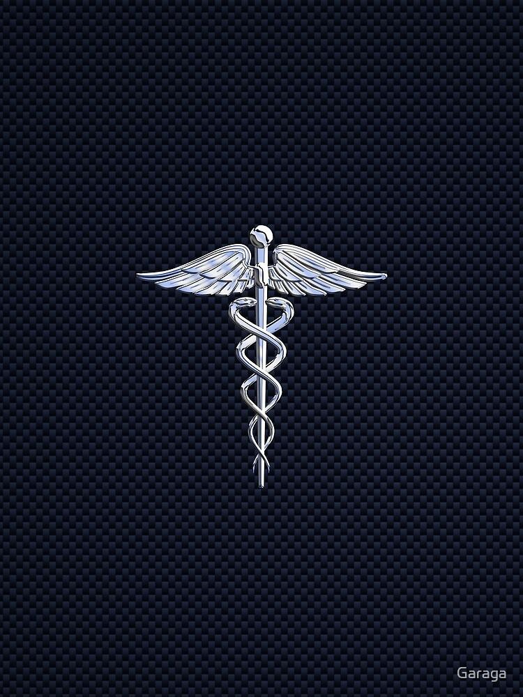 Chrome like Medical Caduceus Snakes by Garaga