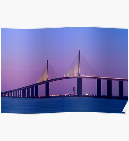 """Sunshine Skyway Bridge"" - bridge over Tampa Bay Poster"