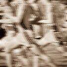 """""""The Race"""" - runners racing by by ArtThatSmiles"""