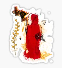 woman in red Sticker