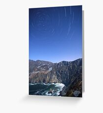 Star trails over Sliabh Liag Greeting Card