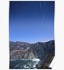 Star trails over Sliabh Liag Poster