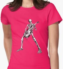 Skeleton Bones Dead Electric Guitar Player Womens Fitted T-Shirt