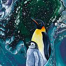 Christmas Star, penguins by WendyFranzArt