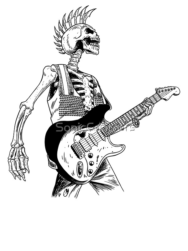 16114410 Skeleton Bones Dead Electric Guitar Player 2 on product information sheets