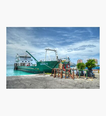 Cargo boat at Potter's Cay loading freight to deliver in the Family Island - Nassau, The Bahamas Photographic Print