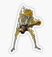 Flame Skeleton Dead Electric Guitar Player Sticker