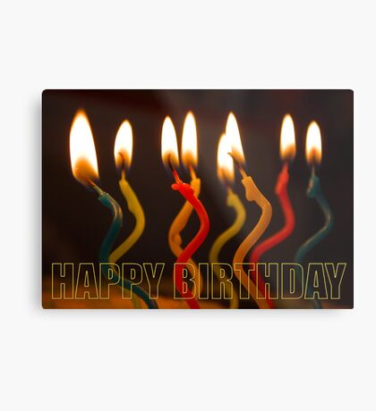 curly candles b-day card Metal Print