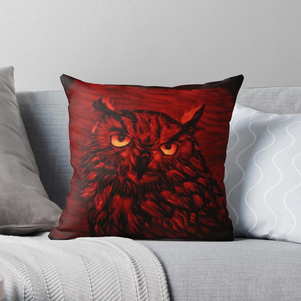 Dark Owl Two Throw Pillow