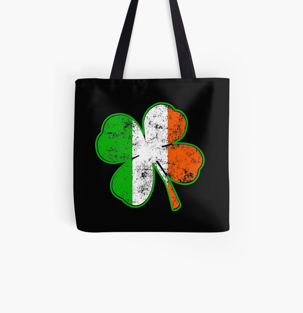 Irish Shamrock All Over Print Tote Bag