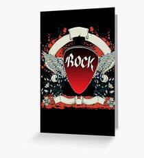 Rock and Roll Guitar Pick Wings Greeting Card