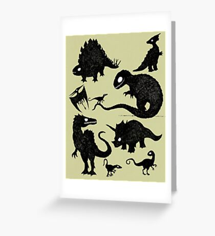 Silhouetted Dinosaurs Greeting Card