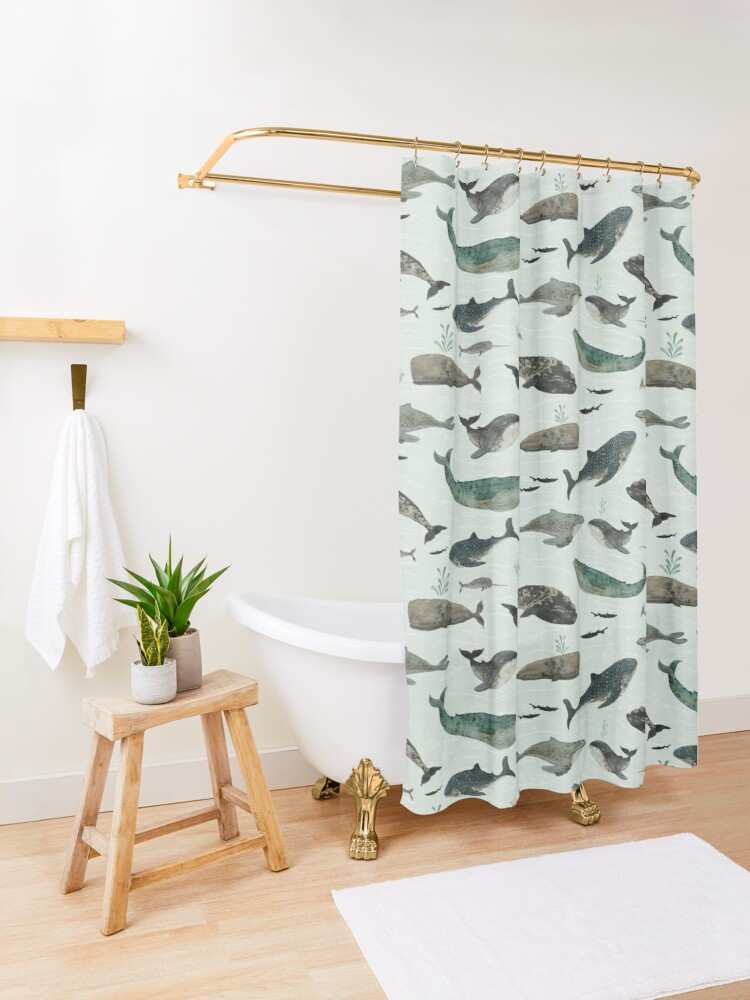 Alternate view of Tattooed Whales Shower Curtain