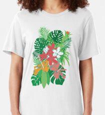 Tropical Flowers Palm Leaves Summer Bouquet  Slim Fit T-Shirt