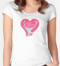 Scandinavian Mint Pink Deer Heart Flowers  Fitted Scoop T-Shirt