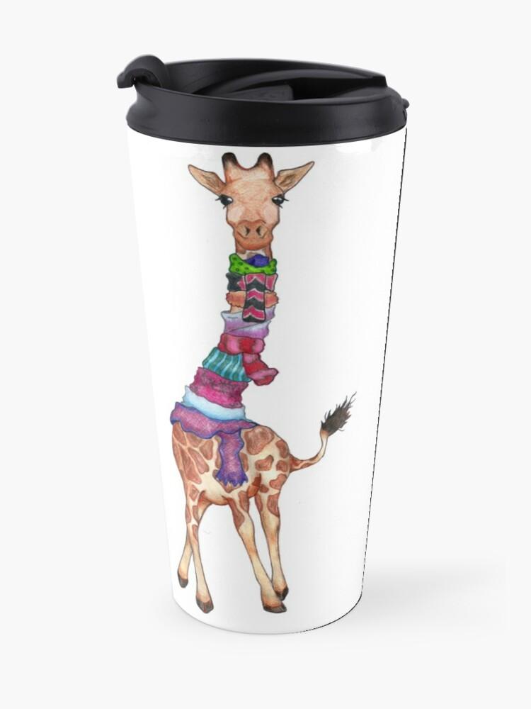 Alternate view of Cold Outside - Cute Giraffe Illustration Travel Mug