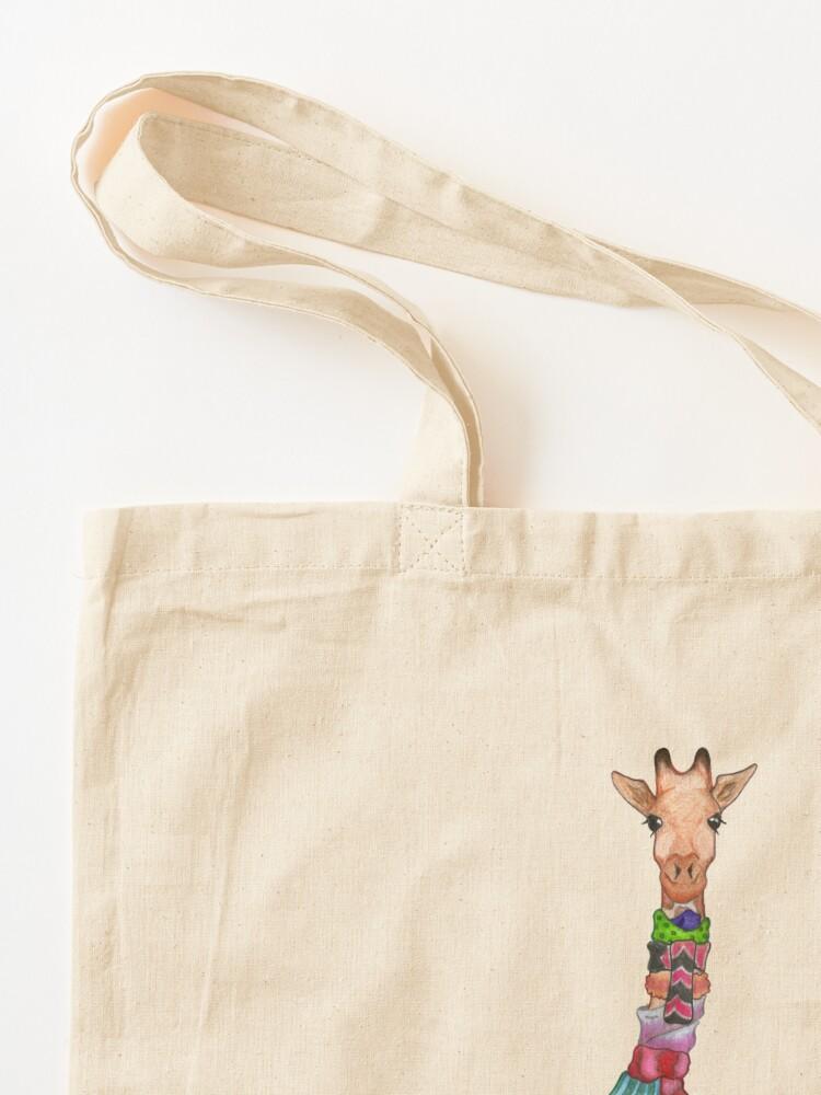 Alternate view of Cold Outside - Cute Giraffe Illustration Tote Bag