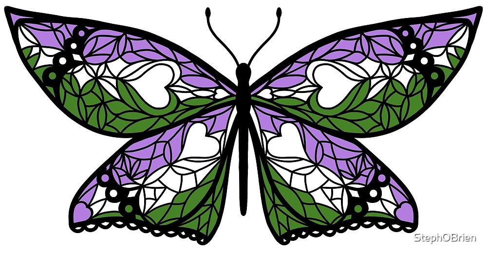 Fly With Pride: Genderqueer Flag Butterfly by StephOBrien