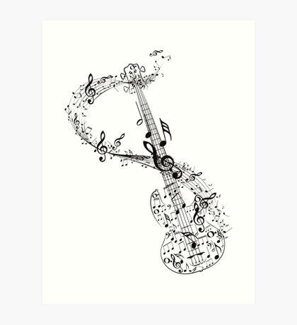 Gitarre und Musiknoten Kunstdruck
