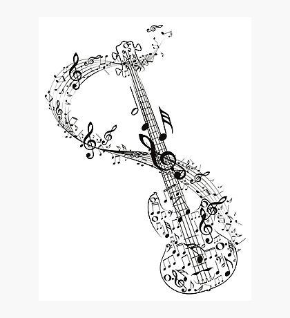 Gitarre und Musiknoten Fotodruck