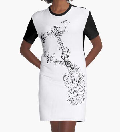 Gitarre und Musiknoten T-Shirt Kleid