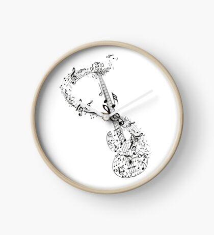 Gitarre und Musiknoten Uhr
