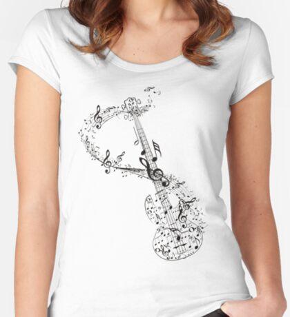 Gitarre und Musiknoten Tailliertes Rundhals-Shirt