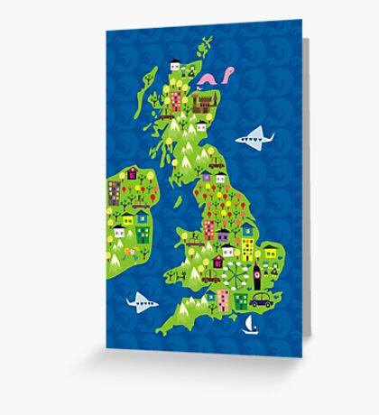cartoon map of the UK Greeting Card