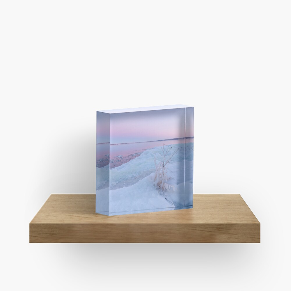 Lake shore scenery at dusk winter in Finland Acrylic Block