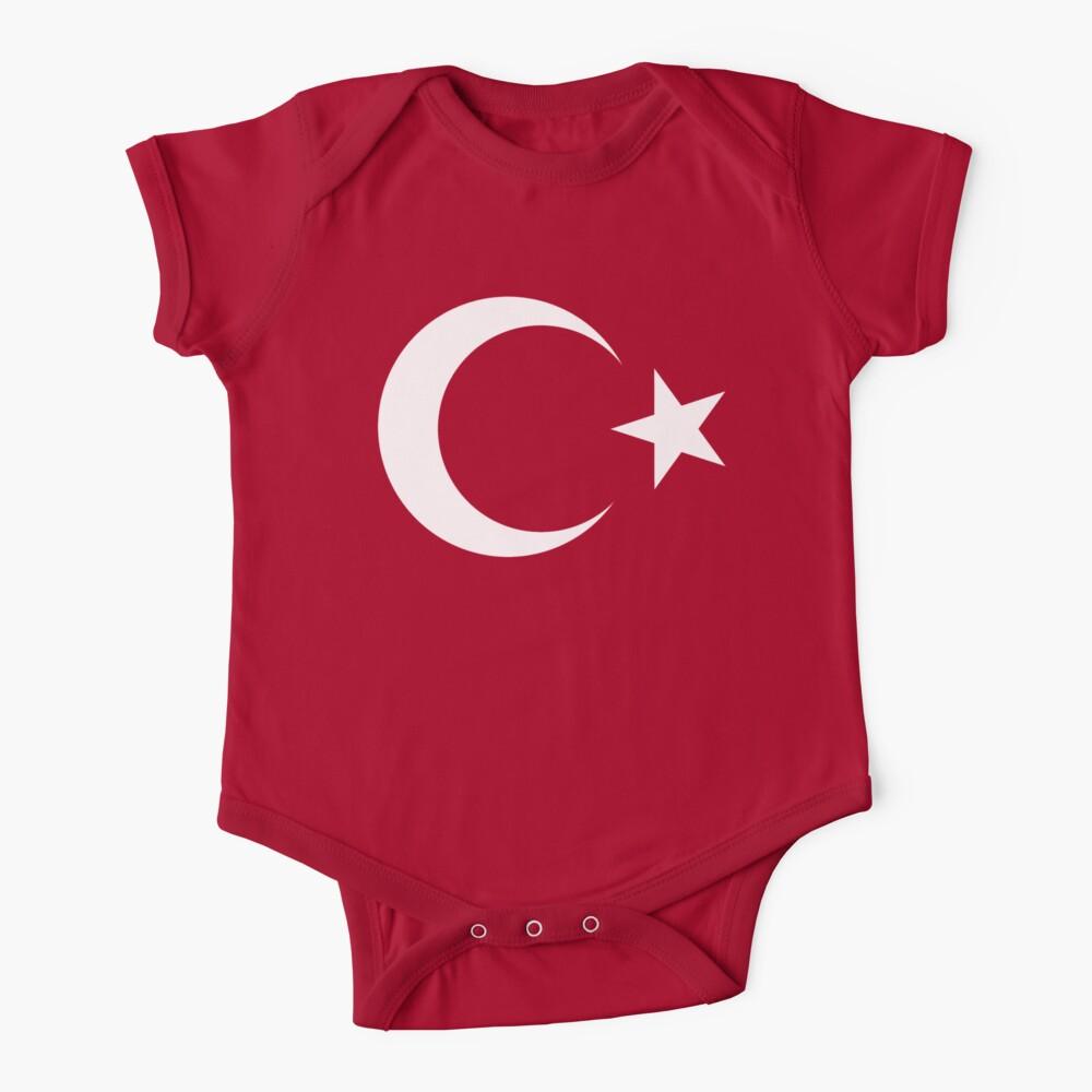 Turkish Flag, TURKEY, TURKISH, Crescent Moon, Flag of Turkey, Star, Pure & Simple on RED. Baby One-Piece
