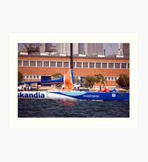 maxi yacht skandia prepares for sydney to hobart yacht race Art Print