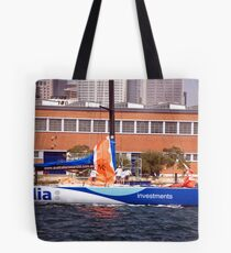 maxi yacht skandia prepares for sydney to hobart yacht race Tote Bag
