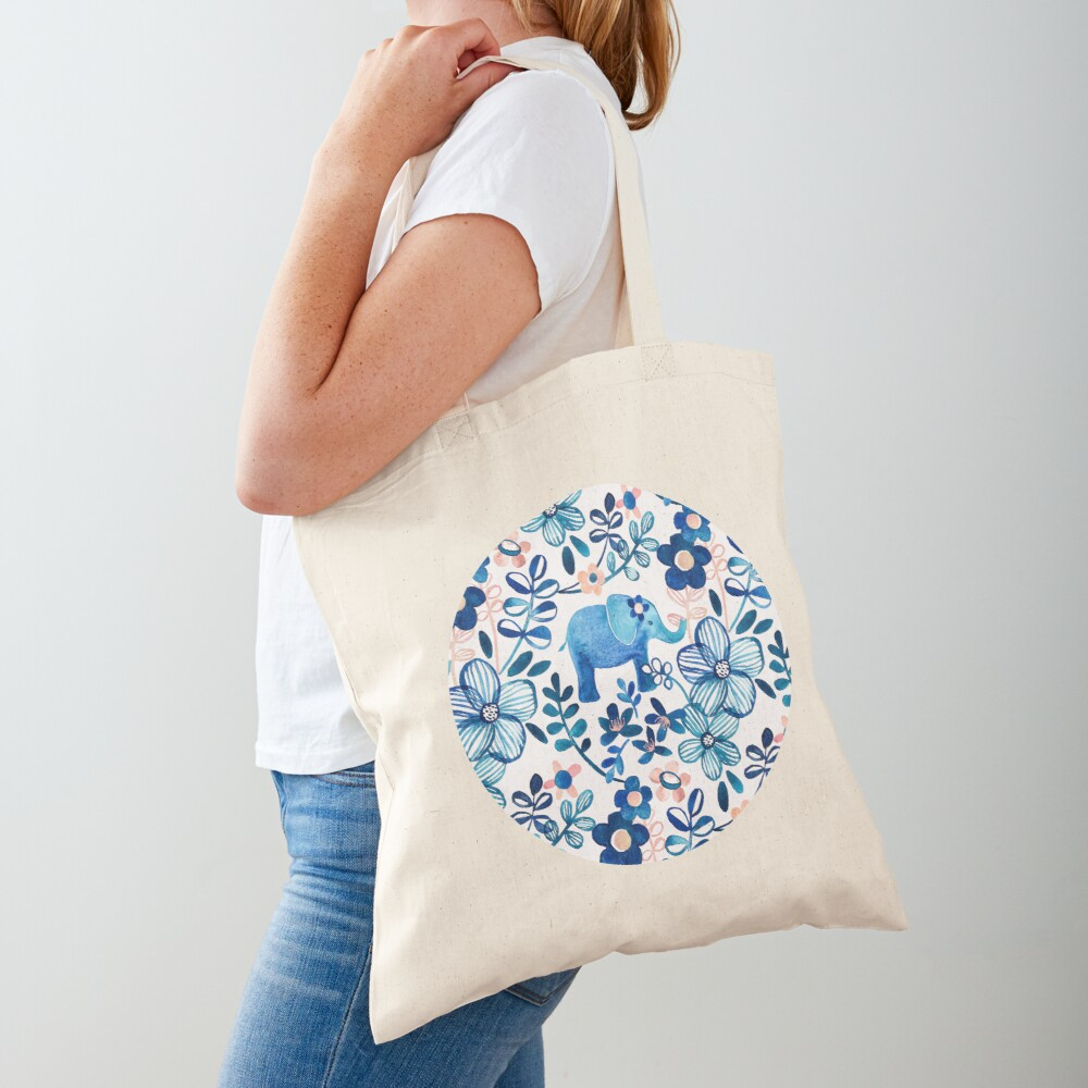 Blush Pink, White and Blue Elephant and Floral Watercolor Pattern Tote Bag