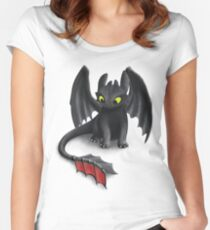 Toothless, Night Fury Inspired Dragon. Women's Fitted Scoop T-Shirt