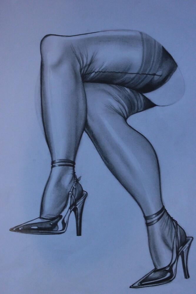 Dark stockinged legs by Alan55