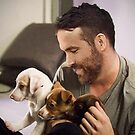 Ryan Reynolds with Puppies by mavisshelton