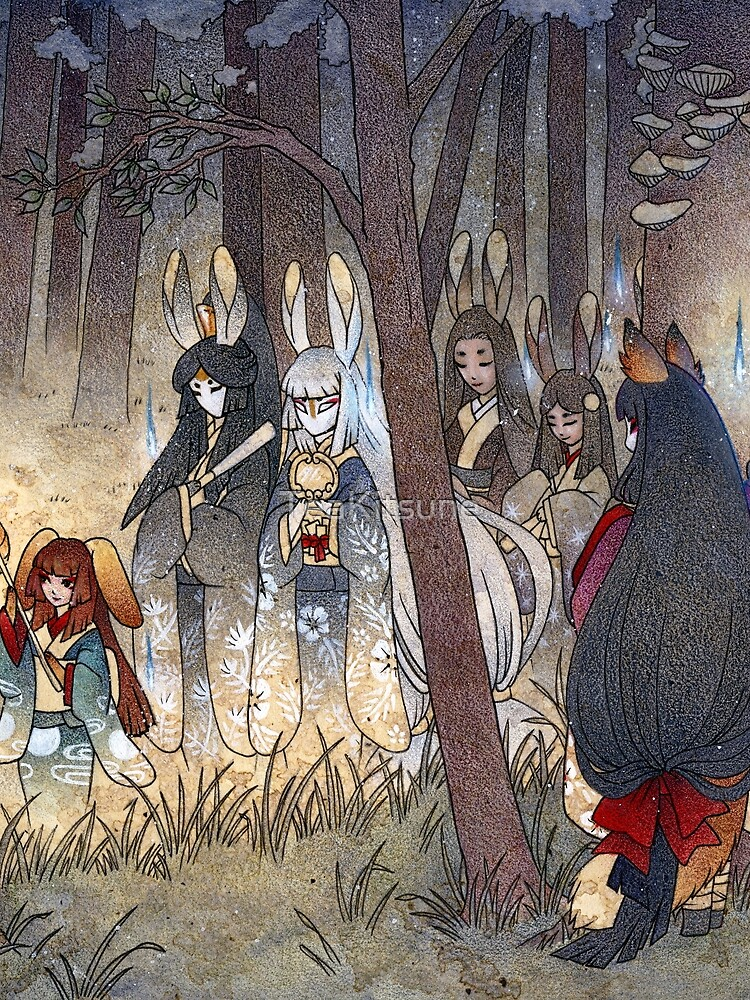 Procession - Kitsune Fox Rabbit Yokai by TeaKitsune