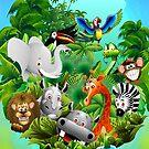 Wild Animals Cartoon on Jungle by BluedarkArt