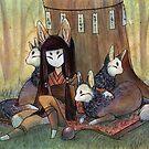 Okina and Kitsune by TeaKitsune