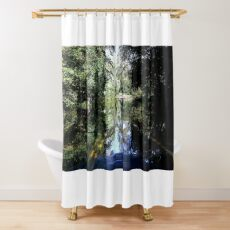 The Bicyclist and the Mirrored Pond Shower Curtain