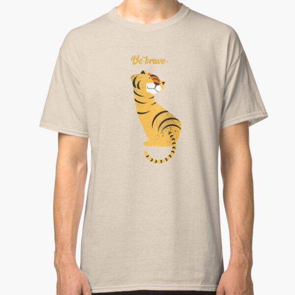 Illustration Kinderzimmer mit Tiger und Typografie – Be brave tiger Classic T-Shirt
